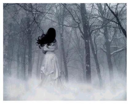 mujer entrando a la neblina del bosque